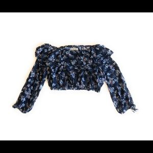 Abercombrie & Fitch  crop Top off shoulder Floral